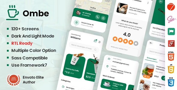 Ombe - Coffee Shop Mobile App Template - Mobile Site Templates