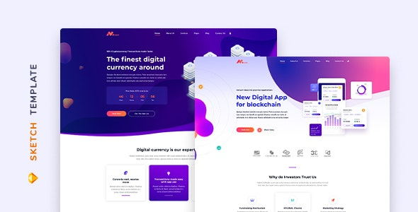 Moneer – Cryptocurrency Template for Sketch - Technology Sketch