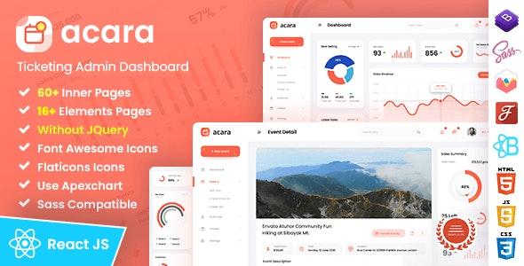 Acara - Ticketing Admin Dashboard React Template - Admin Templates Site Templates