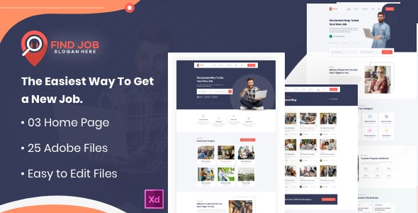 Findjob- Freelancer and Employers Jobs Search XD Template - Corporate Adobe XD