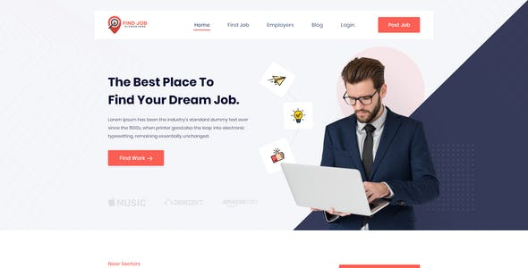 Findjob- Freelancer and Employers Jobs Search XD Template
