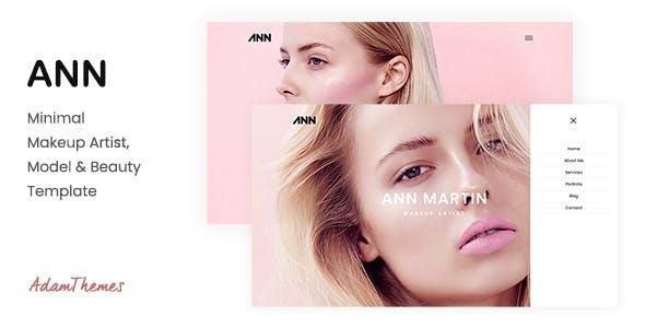 ANN— Minimal Makeup Artist, Model & Beauty Template