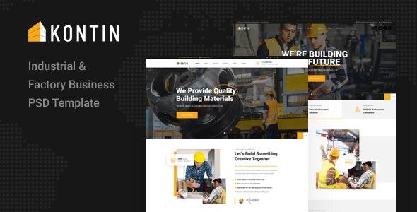 Kontin - Industrial & Factory Business PSD Template - Photoshop UI Templates