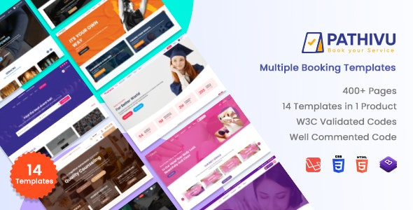 Pathivu - Appointment Booking Templates spa saloon school (HTML + Laravel + React + Angular + Vuejs) - Business Corporate