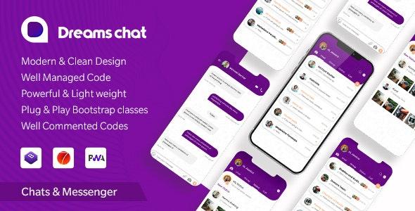 DreamsChat - Mobile App Template (Framework 7 + Bootstrap + PWA) - Mobile Site Templates