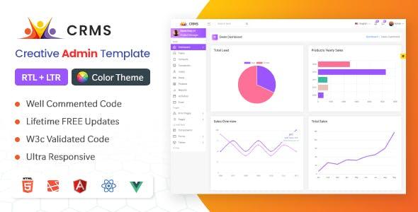 CRMS - Sales, CRM, Accounts Admin Bootstrap Template (HTML + Laravel + Vuejs + Reactjs + Angular)