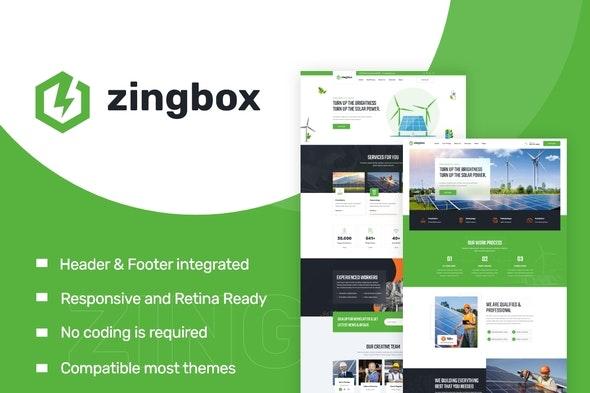 Zingbox – Wind & Solar Energy Elementor Template Kit - Business & Services Elementor