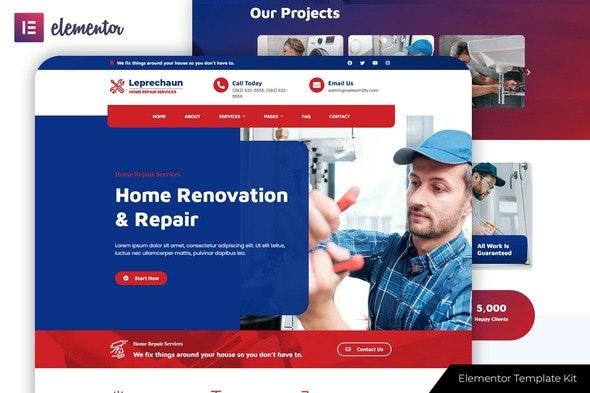 Leprechaun - Home Repair Elementor Template Kit - Business & Services Elementor