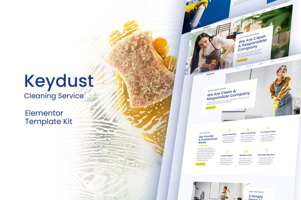 Keydust -  Cleaning Service Elementor Template Kit - Business & Services Elementor