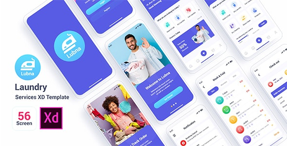 Lubna – Laundry Services Adobe XD Template - Adobe XD UI Templates