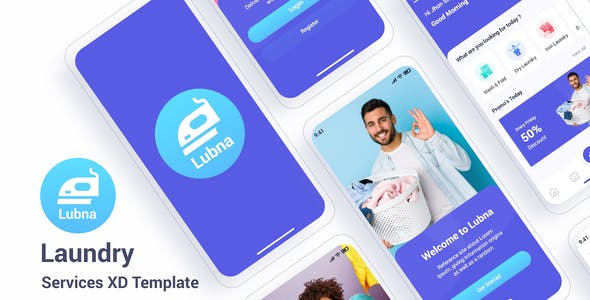 Lubna – Laundry Services Adobe XD Template