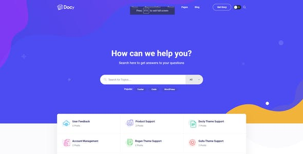 Docy - Documentation and Forum WordPress Theme with Envato API integrated