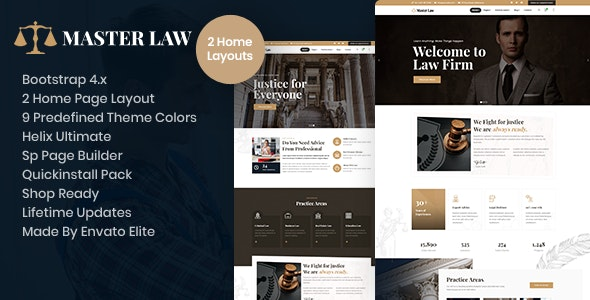 Masterlaw - Attorney Law Business Joomla Template With Page Builder - Business Corporate