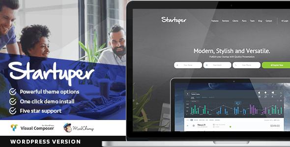 Startuper - Startup Landing Page WordPress - Marketing Corporate