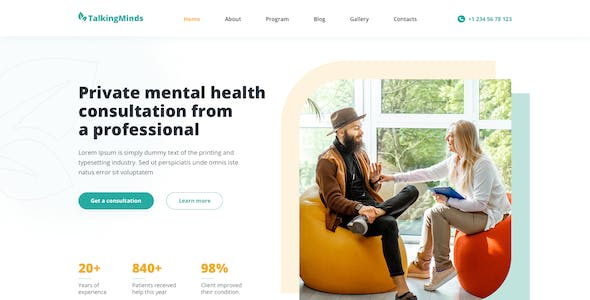 Talking Minds – Psychotherapist Template for Photoshop