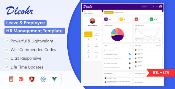 Dleohr - Leave & Employee HR Management Admin Template (HTML + Laravel + ReactJS + Angular + Vuejs) - Admin Templates Site Templates