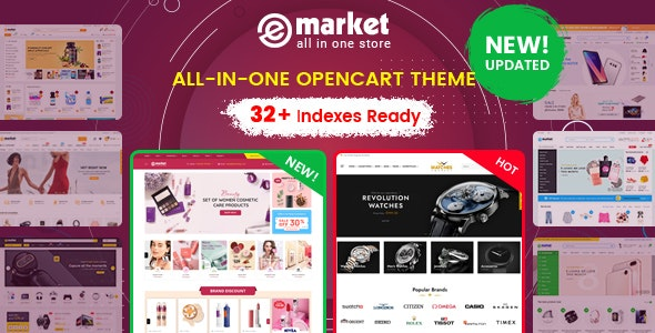 eMarket - Multipurpose MarketPlace OpenCart 3 Theme (32+ Homepages & Mobile Layouts Included) - OpenCart eCommerce