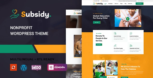 Subsidy - Nonprofit WordPress Theme - Charity Nonprofit