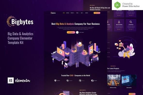 Bigbytes – Big Data & Analytics Company Elementor Template Kit - Technology & Apps Elementor