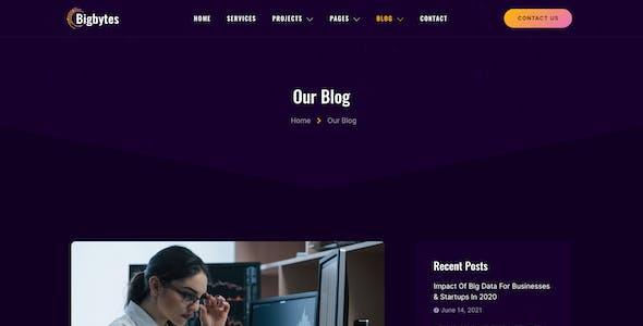 Bigbytes – Big Data & Analytics Company Elementor Template Kit
