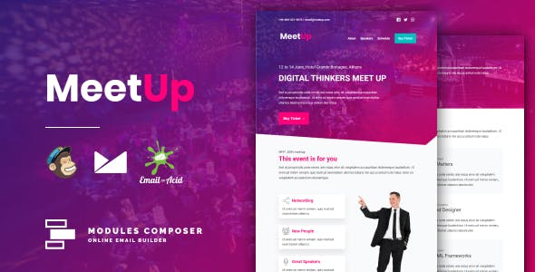 Meetup - Responsive Email for Meetups, Conferences & Events with Online Builder