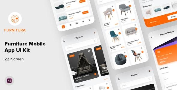 FURNITURA - Furniture Mobile App UI Kit For Adobe XD - Shopping Retail