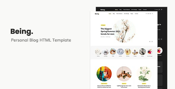 Being - Personal Blog HTML Template