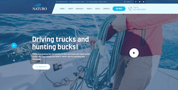 Naturo - Hunting and Fishing Services PSD Template