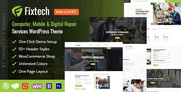 Fixtech - Computer & Mobile Repair Services WordPress Theme - Technology WordPress