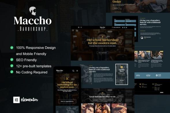Maccho - Gentlemen Barbershop Elementor Template Kit - Fashion & Beauty Elementor