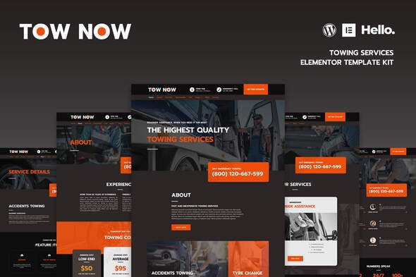 Tow Now - Towing Services Elementor Template Kit - Automotive & Transportation Elementor