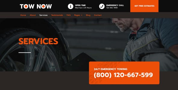 Tow Now - Towing Services Elementor Template Kit