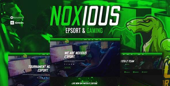 Noxious - Esport & Gaming Elementor Template kit