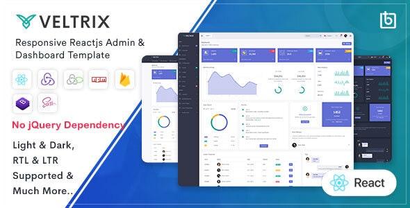 Veltrix - React Js Admin & Dashboard Template - Admin Templates Site Templates