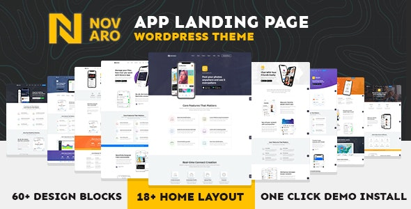 App Landing Page WordPress Theme - Novaro - Software Technology