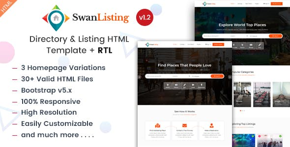 Directory & Listing HTML Template - SwanListing