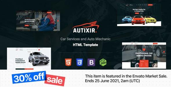 Autixir - Car Services & Auto Mechanic HTML Template With RTL
