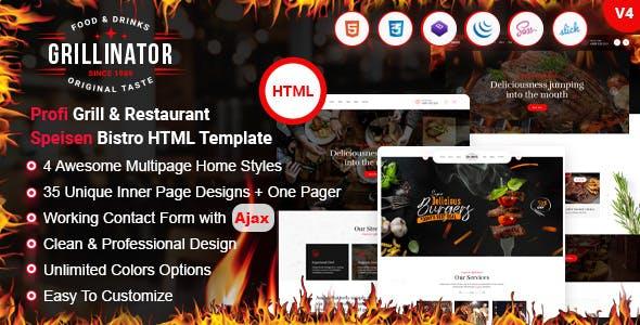 Grillinator - Food Restaurant Cafe Grill  Bar & Bistro HTML Template