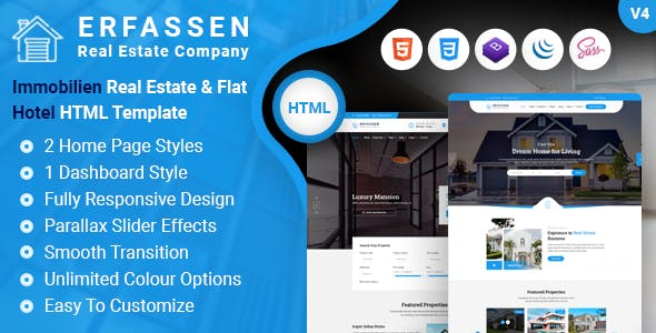 Erfassen Real Estate HTML And Admin Dashboard Template