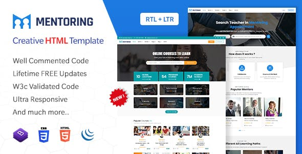 Mentoring - eLearning, Learning management system & Mentor Booking LMS Bootstrap HTML Template (HTML