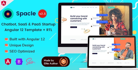 Angular 12 Chatbot & SaaS Startups - Spacle - Technology Site Templates