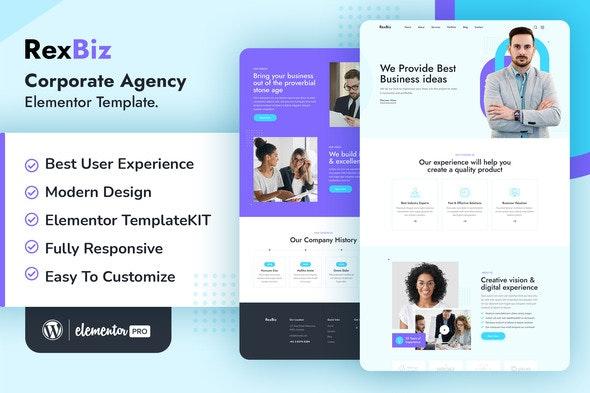 Rexbiz – Corporate Agency Elementor Template Kit - Creative & Design Elementor