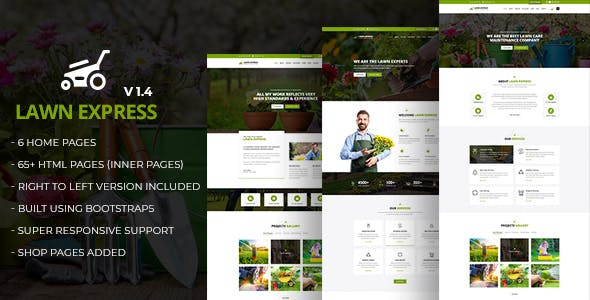 LawnExpress - Lawn Mowing, Gardening, Landscaping, Farming and Florist HTML5 Responsive Template