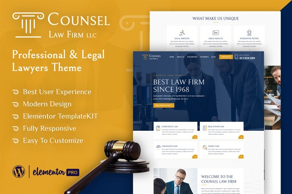 Counsel - Law Firm Elementor Template Kit - Finance & Law Elementor