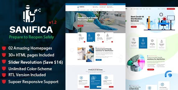 Sanifica: Sanitizing and Disinfection Services HTML Template