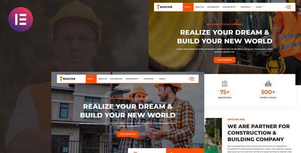 Ngecor - Construction & Building Company Elementor Template Kit