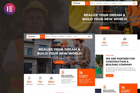Ngecor - Construction & Building Company Elementor Template Kit - Business & Services Elementor