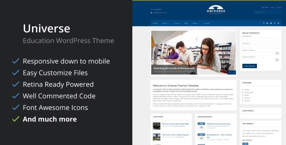 Universe - Education Responsive WordPress Theme - Education WordPress