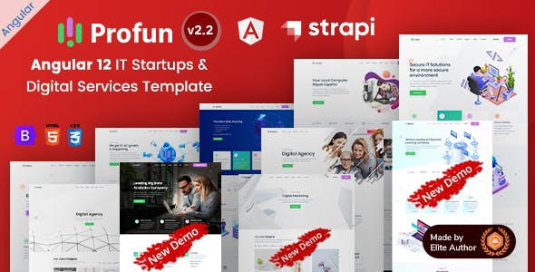 Profun - Angular 12 Strapi IT Startup & Digital Services Template