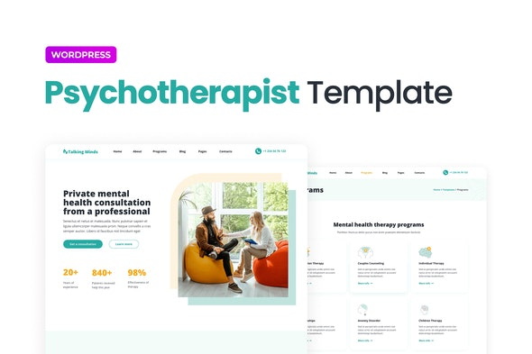 Talking Minds – Psychotherapist Elementor Template Kit - Health & Medical Elementor